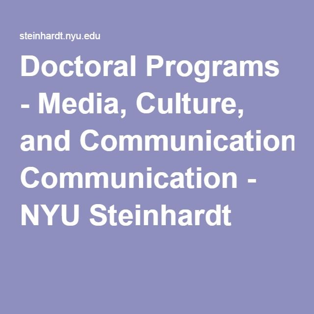 Doctoral Programs - Media, Culture, and Communication - NYU