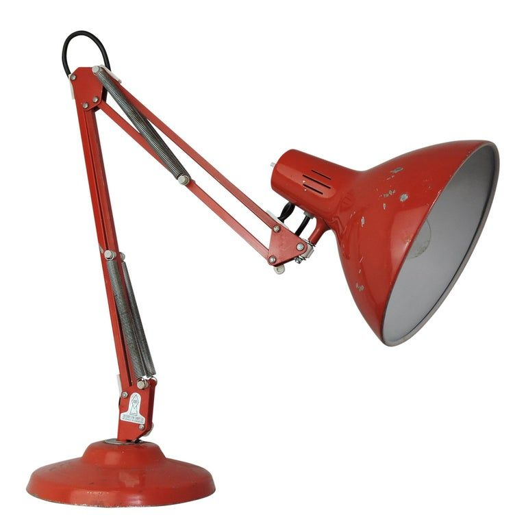 Vintage Red Balanced Arm Desk Lamp From 1001 Lamps London 1960s Vintage Table Lamp Table Lamp Lamp