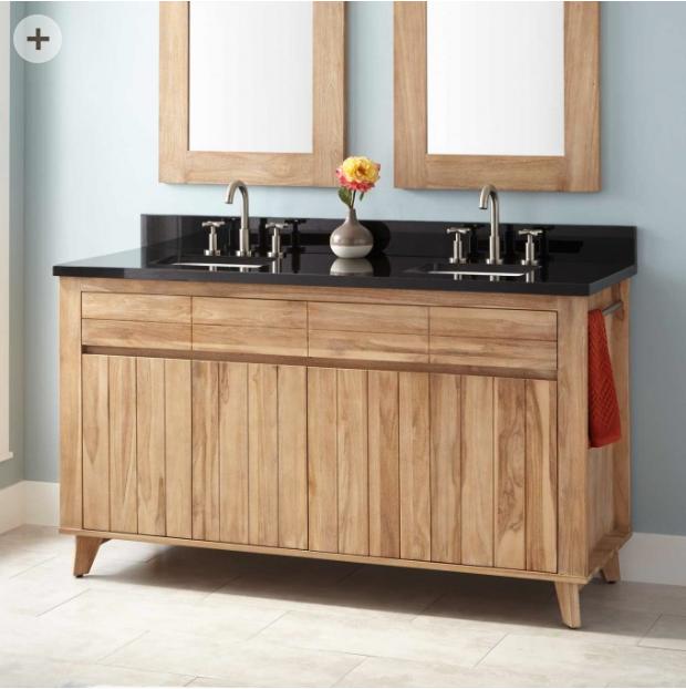 60 Antioch Teak Double Vanity For Rectangular Undermount Sinks Whitewash Countertop Tbd Vanity Double Sink Vanity Country Bathroom Decor