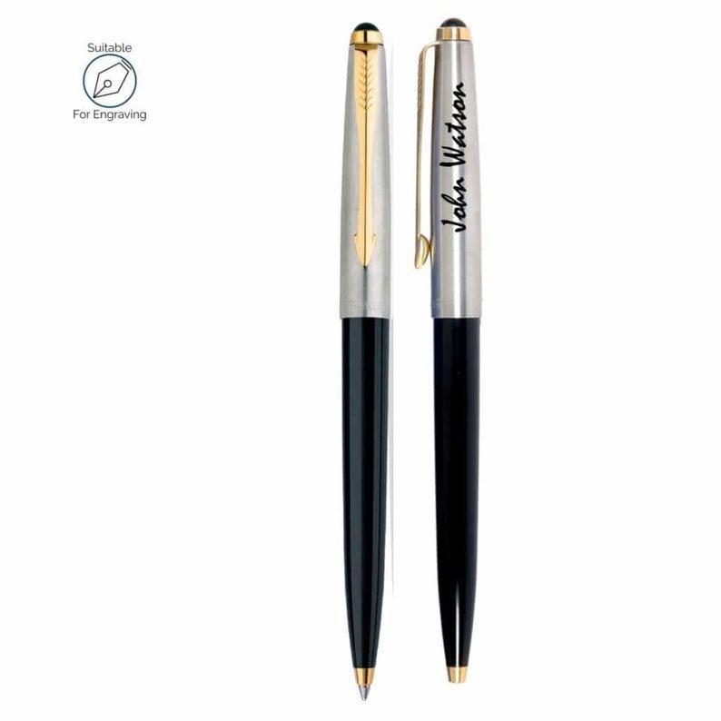 Personalised Engraved Parker Jotter Black Ballpoint Pen Gift Boxed Black Ink