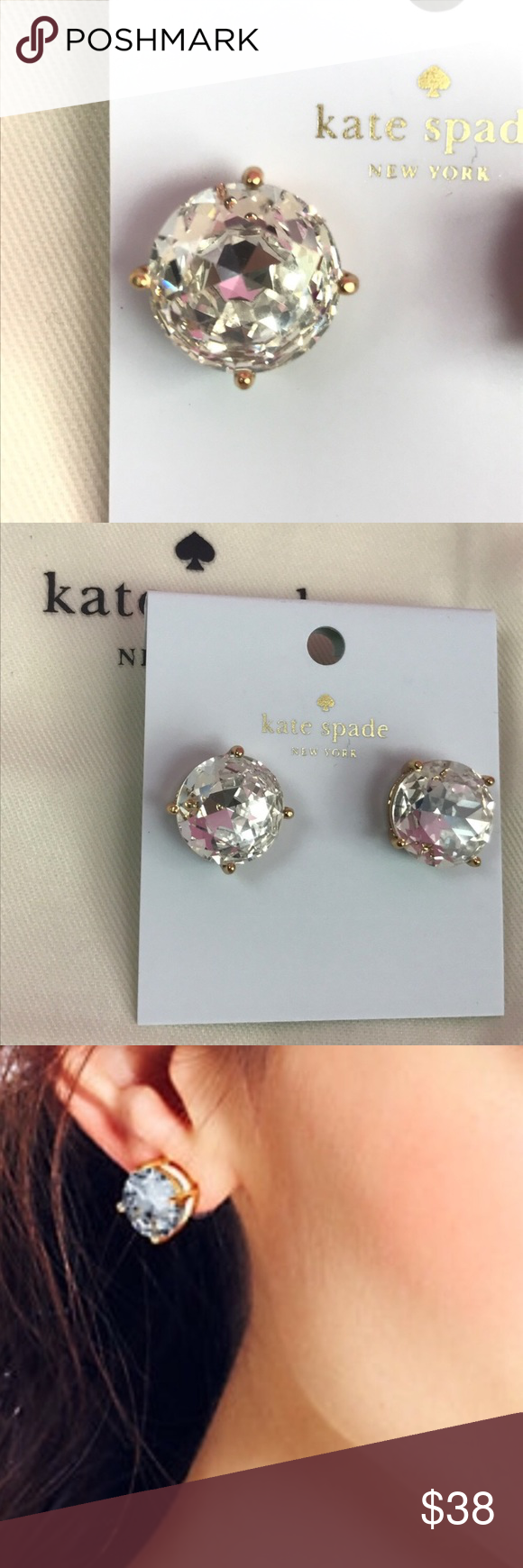 """NWT Kate Spade Large Gum Drop Clear Stud Earrings NWT Kate Spade Large Gum Drop Clear Stud Earrings Retail $38 style# O0RU0736  About .5"""" in diameter ; Sorry No Trades; Comes with Dust Bag kate spade Jewelry Earrings"""