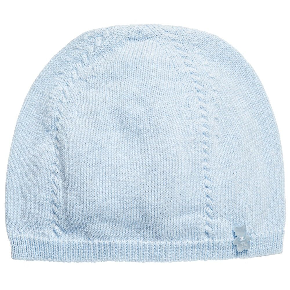 Baby Boys Pale Blue Knitted Cotton Hat, Nanan, Boy
