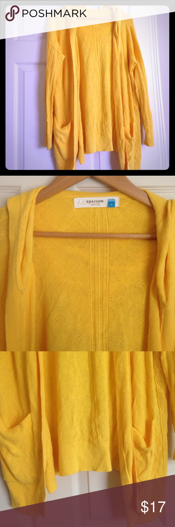 Sparrow anthropolgie yellow knit cardigan sweater