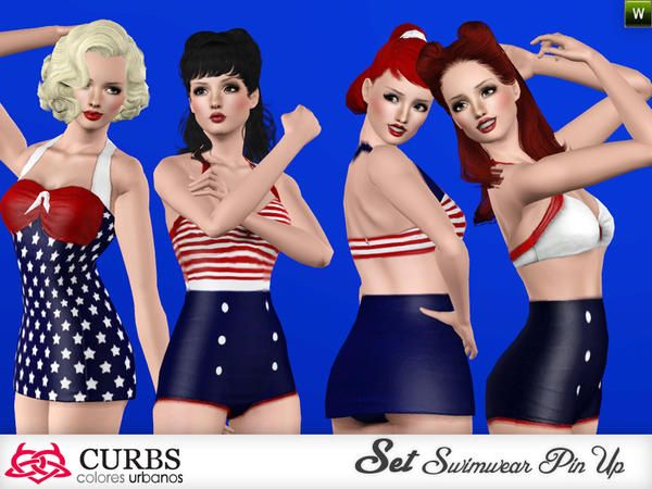 SET Retro Swimwear by Colores Urbanos - Sims 3 Downloads CC
