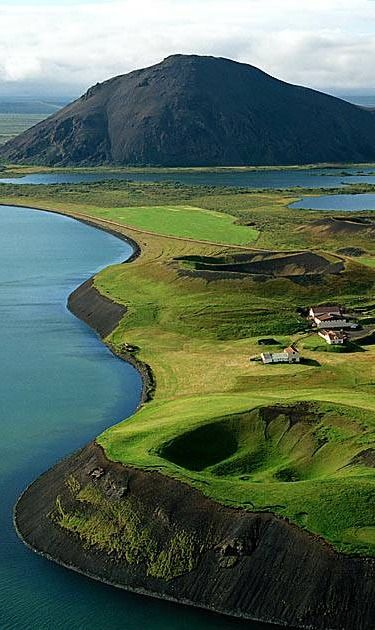 Lake Mývatn near Reykjahlið Photo by Eiramis - only ever seen this covered in snow!