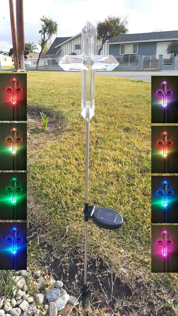 Cross Solar Color Changing Garden Stake Lights 7 5 Inch High Cross Solar Lights Garden Stakes Solar