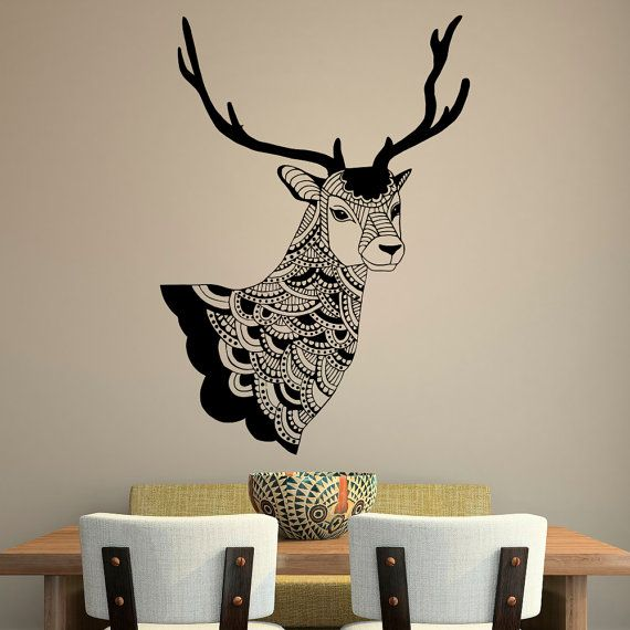 Deer Wall Decal Country Wall Decals Vinyl Stickers Tribal Boho Bohemian  Bedroom Living Room Rustic Wall