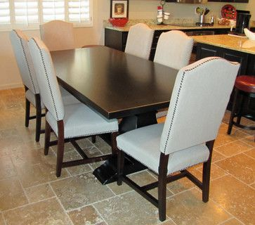 Black Trestle Table Design Ideas, Pictures, Remodel and Decor -- Reupholster red chairs to linen