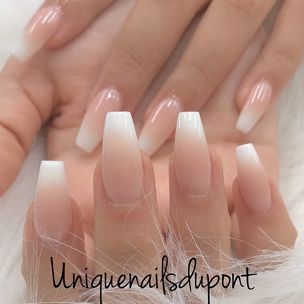 Tina Le On Instagram Biogel Fullset With French Ombre Uniquenailsleaside Uniquenails Nails Art Biogel Gel Manicure Nails American Tip Nails Faded Nails