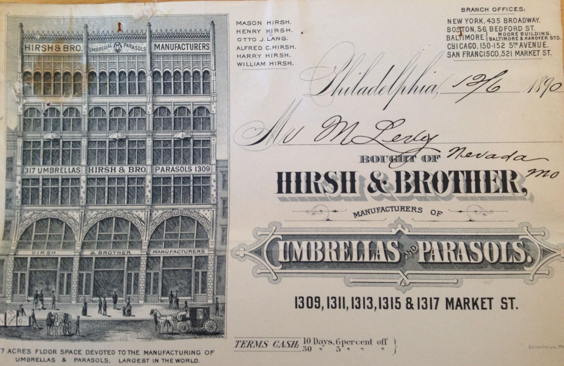 Hirsh And Brother Manufacturers Of Umbrellas And Parasols