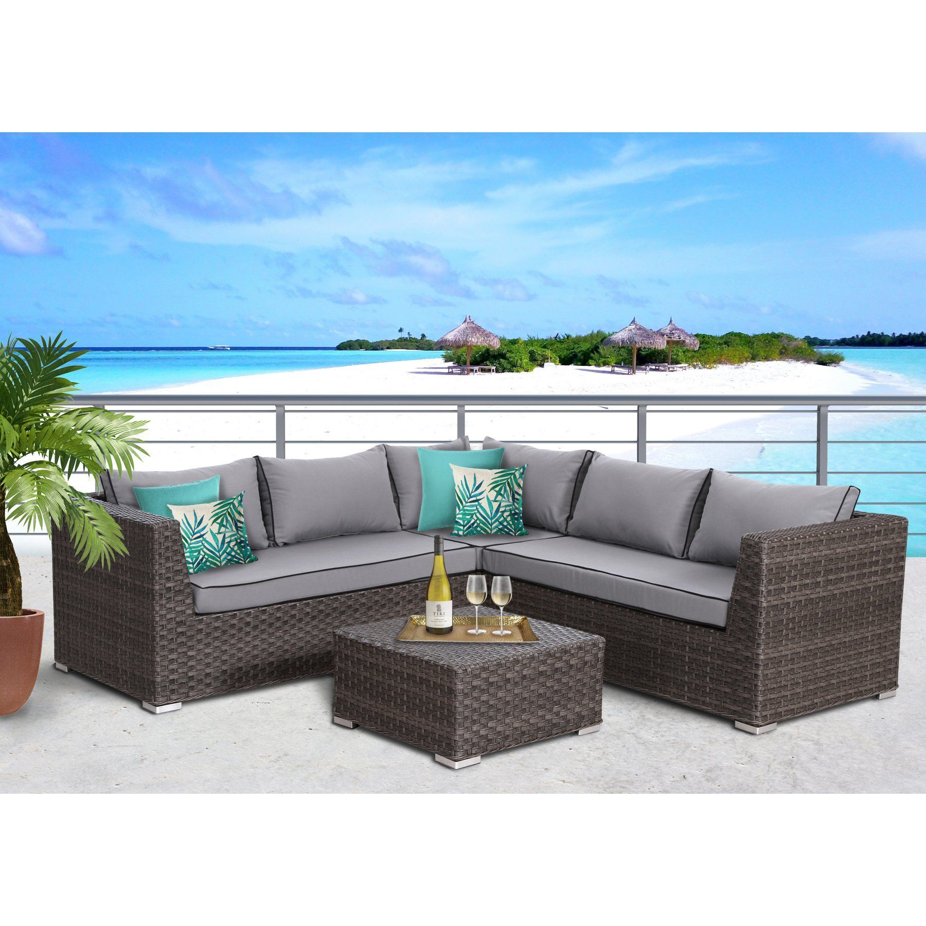 Outdoor SunHaven Marcia All Weather Wicker 4 Piece Patio