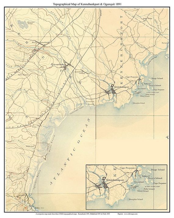 Topo Map Of Maine.Kennebunkport Ogunquit Maine Old Usgs Topo Map 1891 Custom