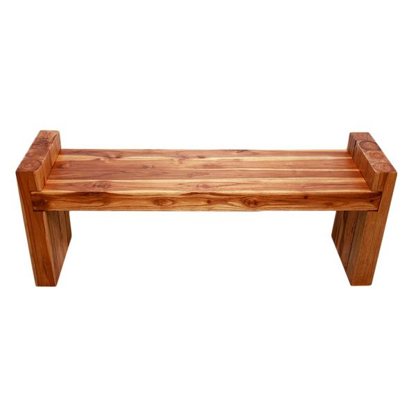 Farmed Teak Wood Block Bench 48 W X 12 D X 16 In H Seat Oak Oil 12 Inch Wide X 48 Inch Long X 16 Inch Seat Height Patio Benches Teak Outdoor Deck Furniture