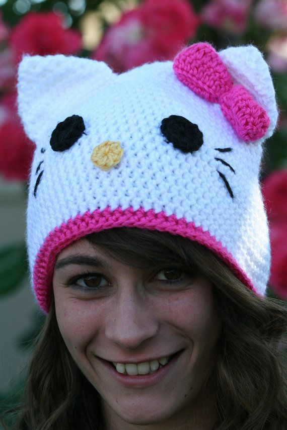 098e6cfc2 Etsy.com - Hello Kitty Cat Hat Hot Pink With Ears and Bow -  Preteen/Teenager - $32 - READY TO SHIP!!