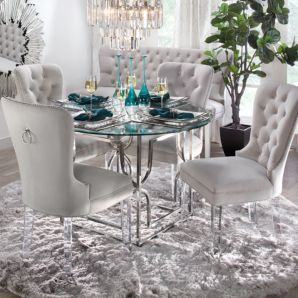 Z Gallerie Charlotte Chair With Lucite Legs And Abagail Silver Metal /  Glass Dining Table
