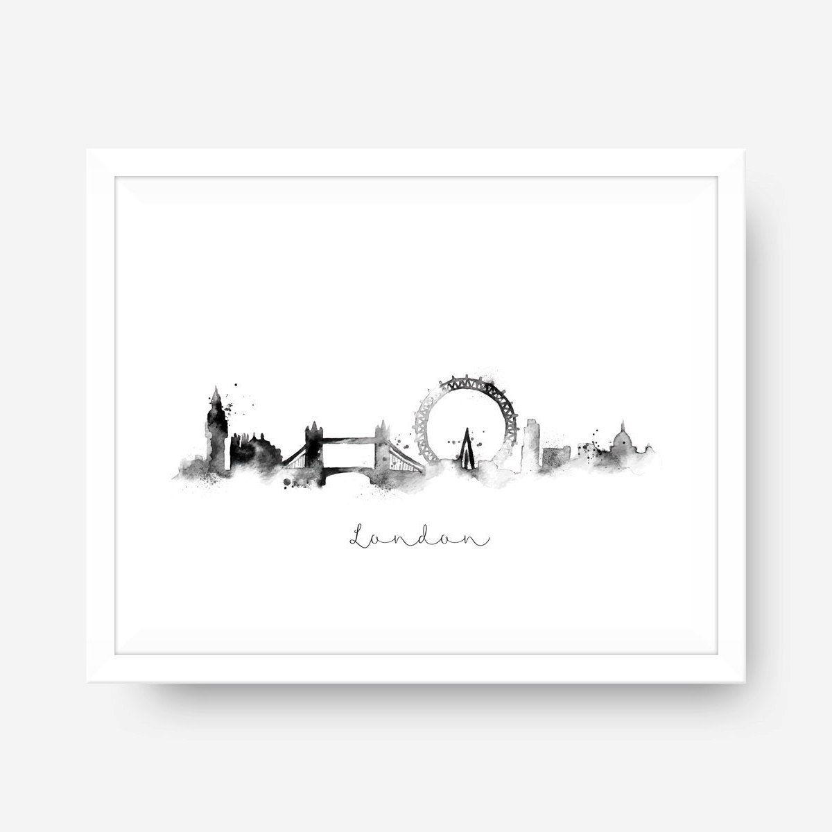 London Skyline Black White Splatter Watercolor Wall Art New York Theme