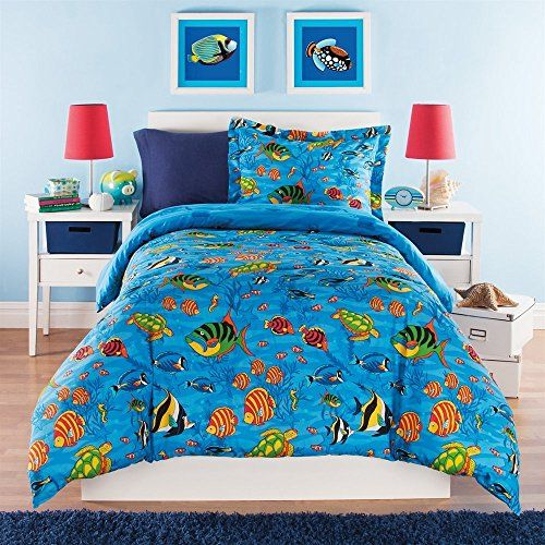 3 Piece Kids Full Queen Comforter Set Aquarium Themed