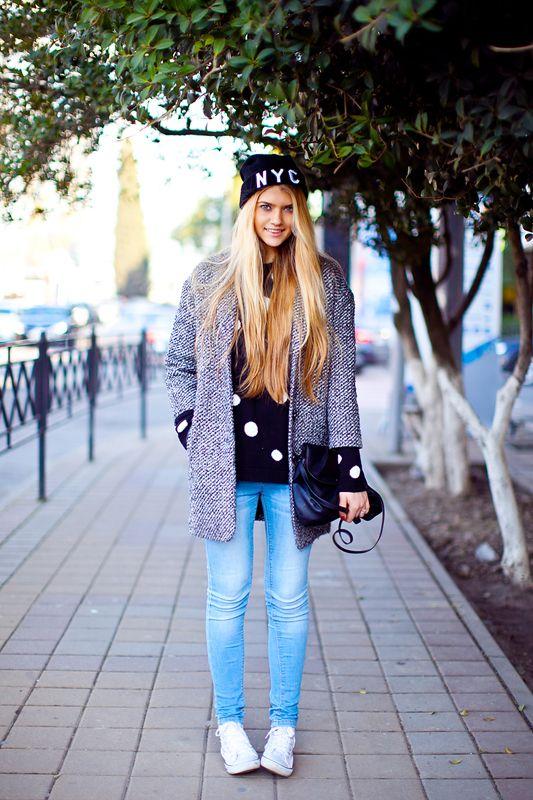 35ac59d95f Look de moda  Abrigo de tweed gris