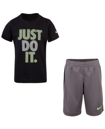 bf21fc09d64d Nike Little Boys 2-Pc. Just Do It Graphic T-Shirt   Shorts Set - Gray 5