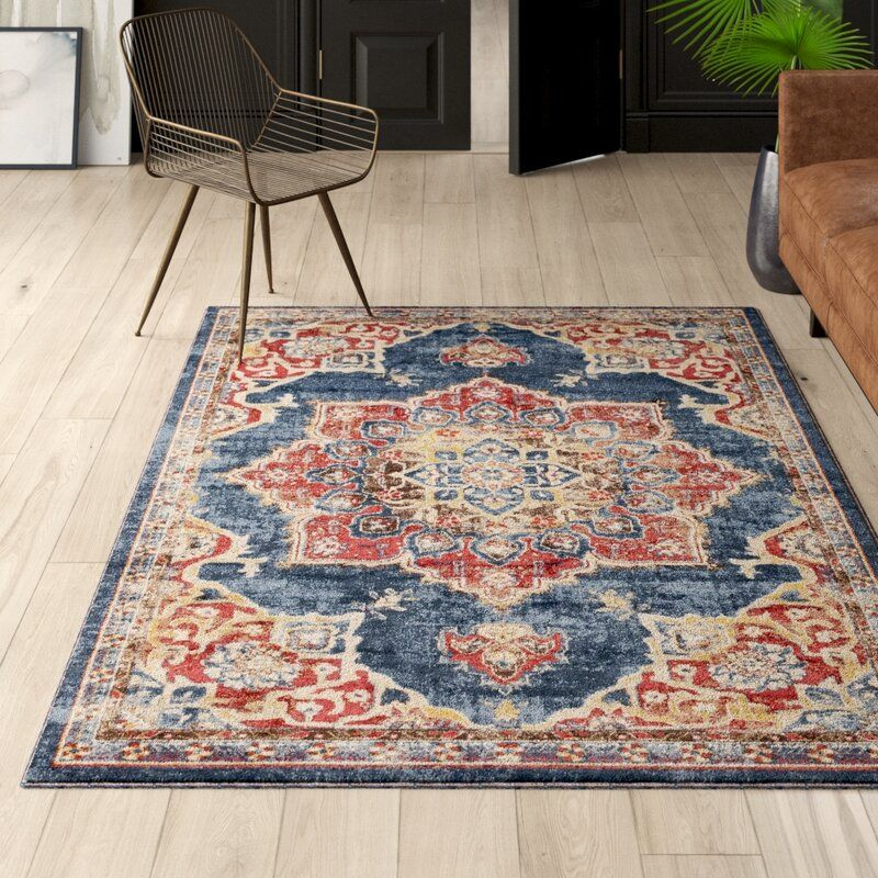 Dulin Persian Inspired Navy Blue Area Rug Area Rugs Beige Area