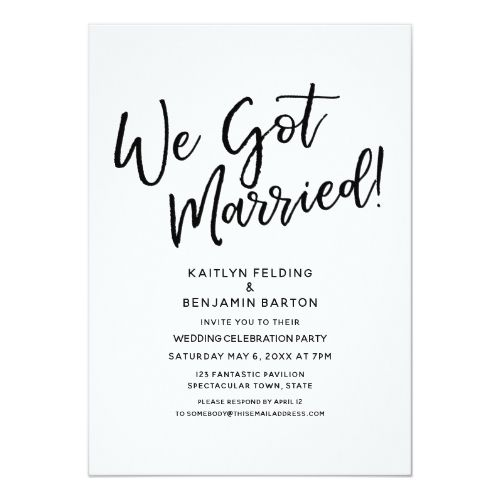 """We Got Married!"" Casual Script Wedding Reception Invitation 