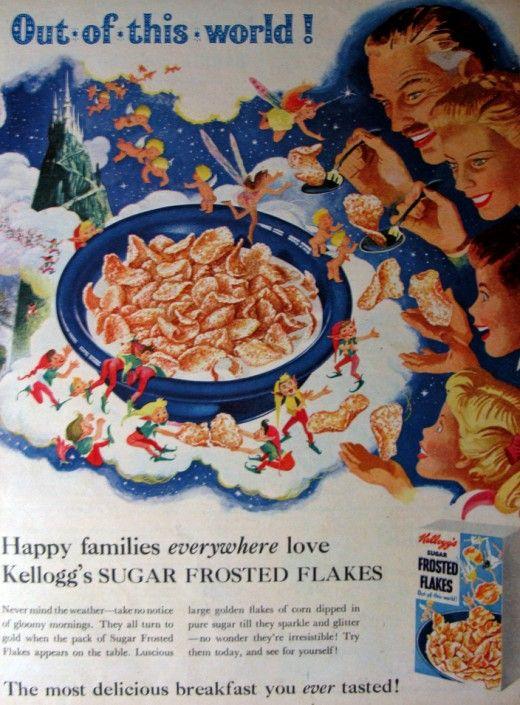"""Kellogg's Corn Flakes - 1955 ad in British """"Everybody's"""" magazine."""