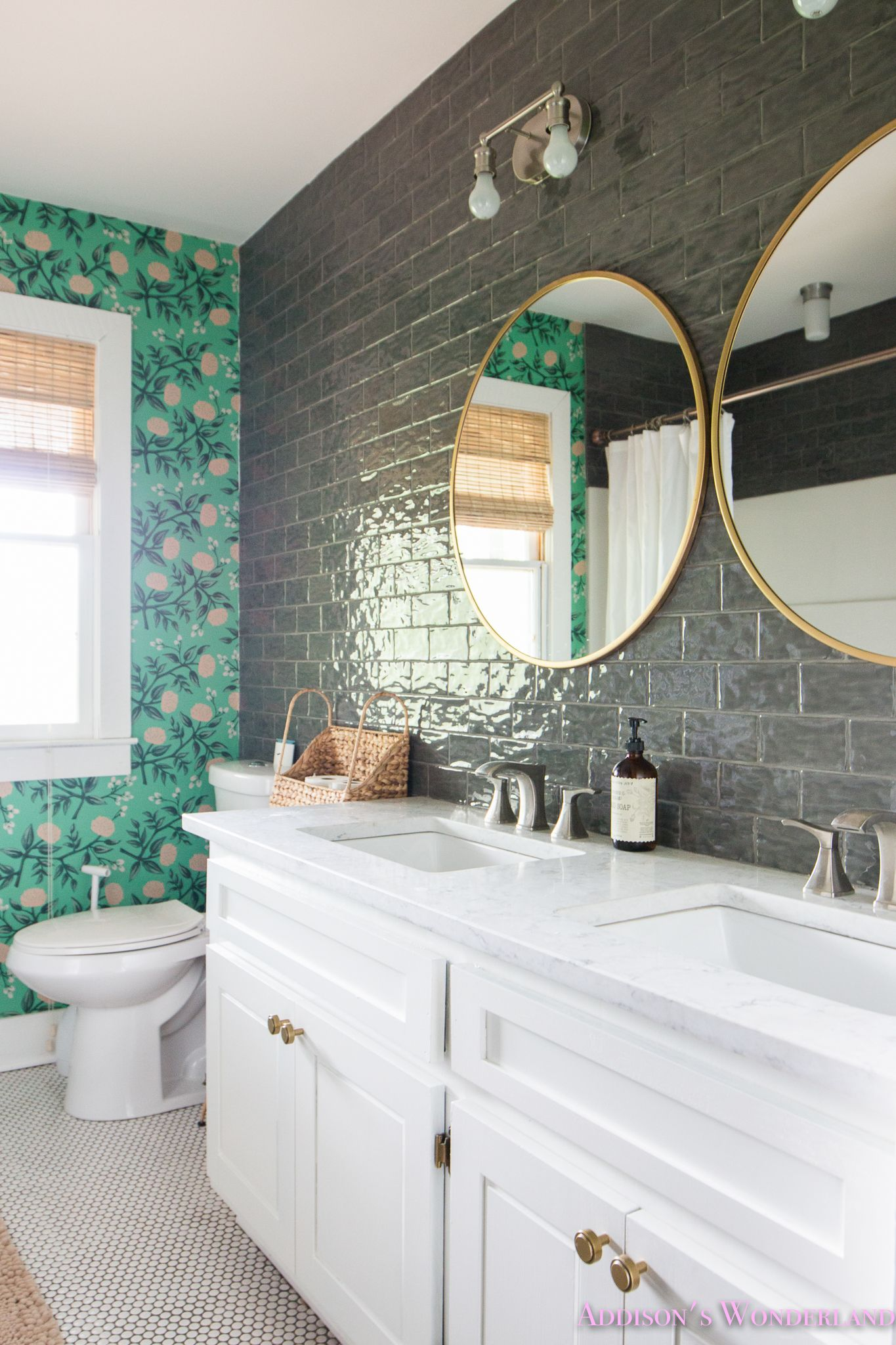 Our green poppies wallpaper cabin guest bathroom reveal bathroom
