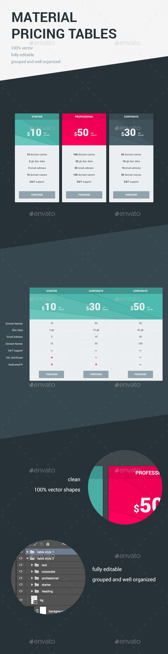 Material Pricing Tables  Pricing Table Template And Vector Shapes