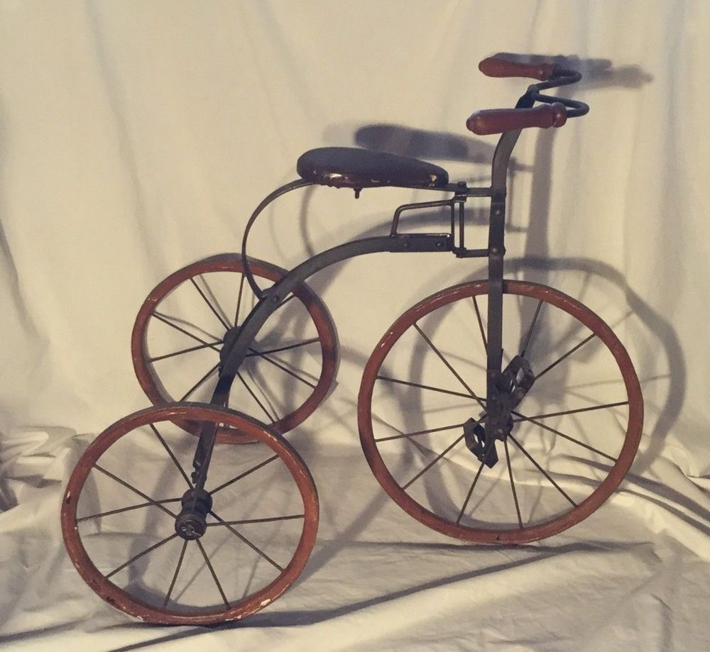 bd1ca5012e4 Antique Tricycle Wooden Wheels Trike 1880's Metal Frame Pedals RARE Vintage