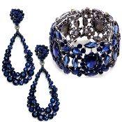890f686b5 Sapphire Navy Blue Crystal Bracelet Earrings Set Formal Jewelry ...