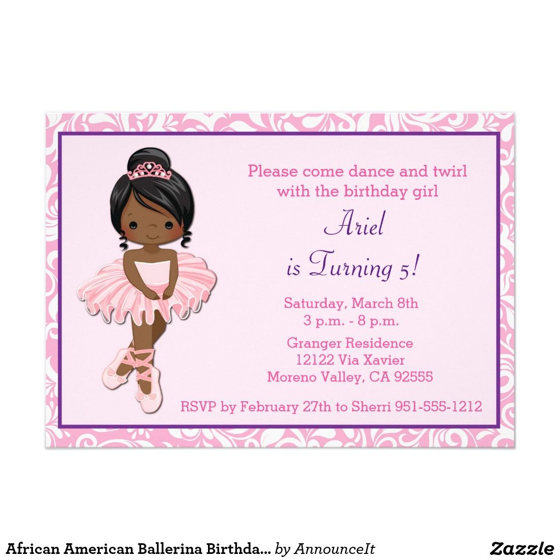 African American Ballerina Birthday Invitation | Kids Birthday ...