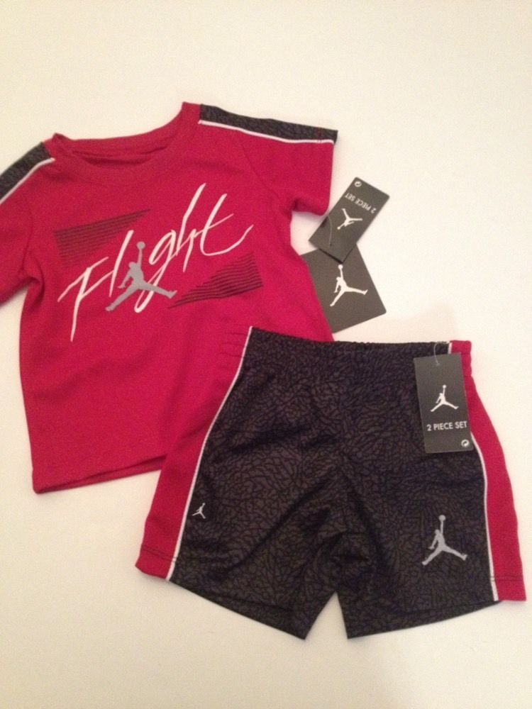 6ea98b96110c94  nike air jordan  baby  boy outfit set shirt shorts size 12 18 24 months  black red from  22.95