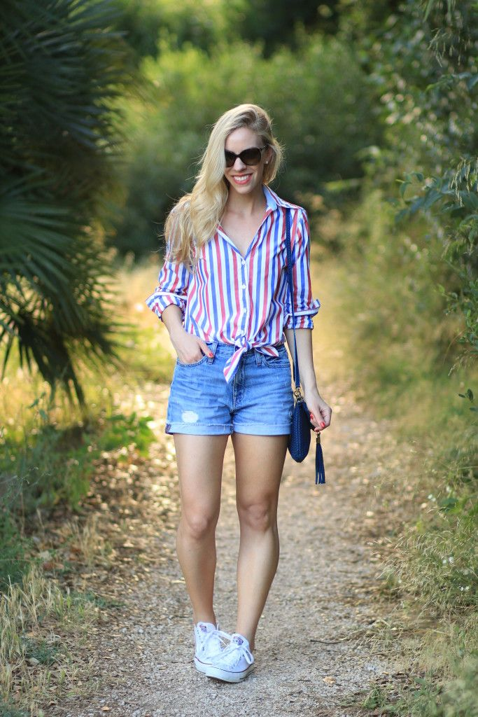 Red, White & Blue: patriotic striped shirt, J. Crew high waist ...