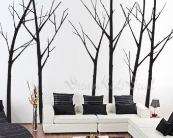 Superb Winter Wall Decal Trees Wall Decor Nursery Vinyl Wall Decal Baby Wall  Sticker Children Room Vinyl Mural Nature Wall Decal Five Winter Trees
