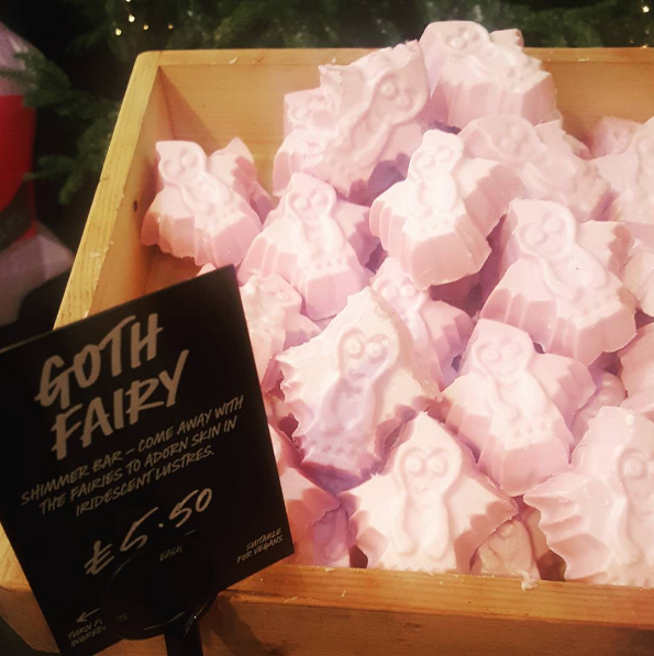 The Goth Fairy shimmer bar lets you put buttery smooth shimmer anywhere on your body. | Lush's New Bath Bombs Are Halloween-Themed And I'm Freaking Out