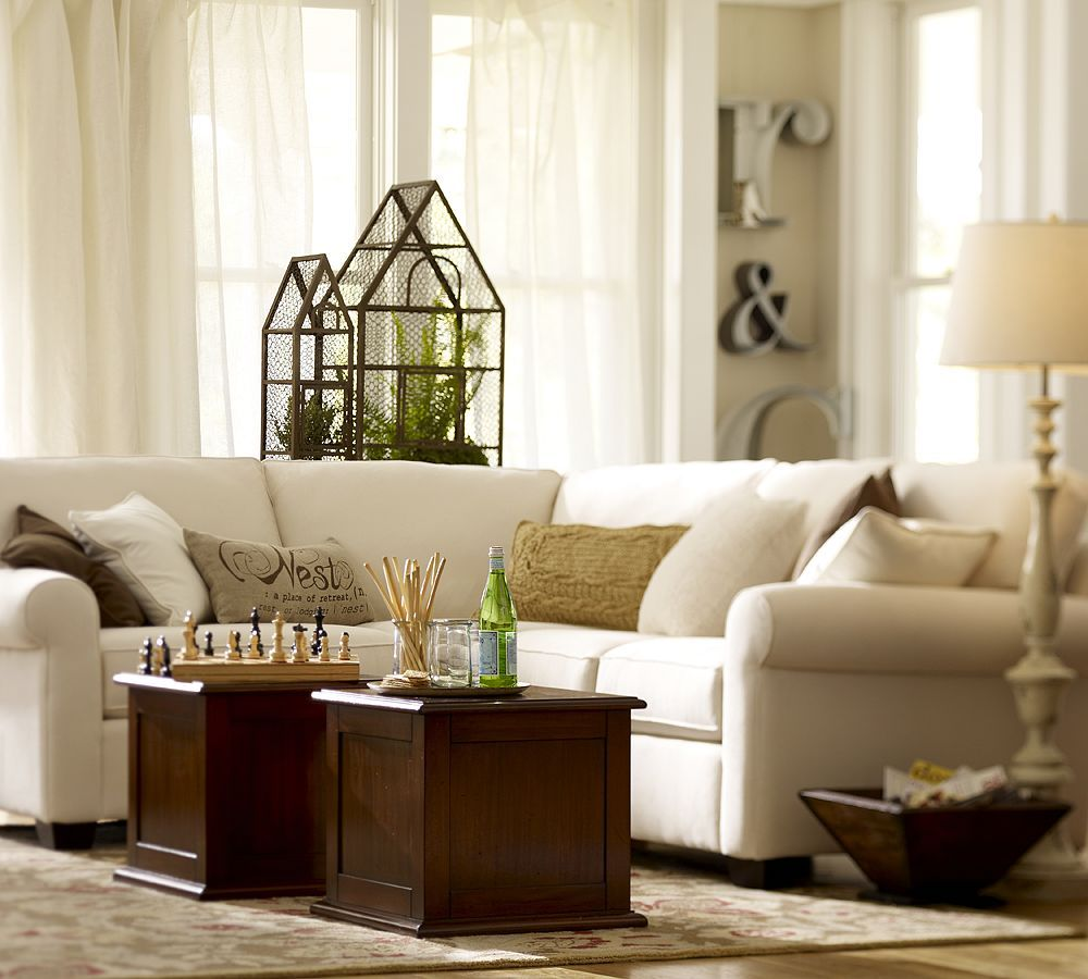 Curved Sofa For Small Spaces: Pottery Barn Living Room