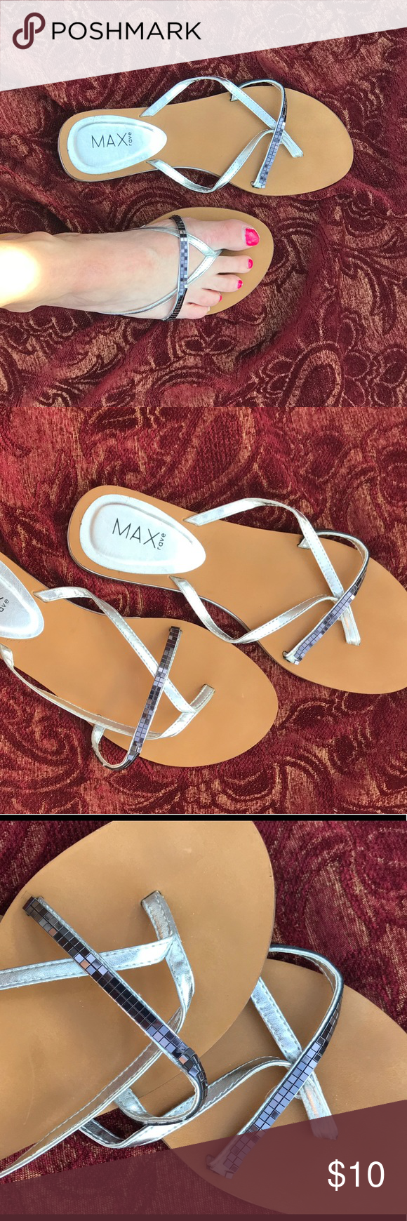 a326af90b60063 💕👡Sparkly Silver Summer Sandals Size 8 Brand  Max Rave Used Some beading  at the base has come loose but not noticeable once on your foot. Very cute!