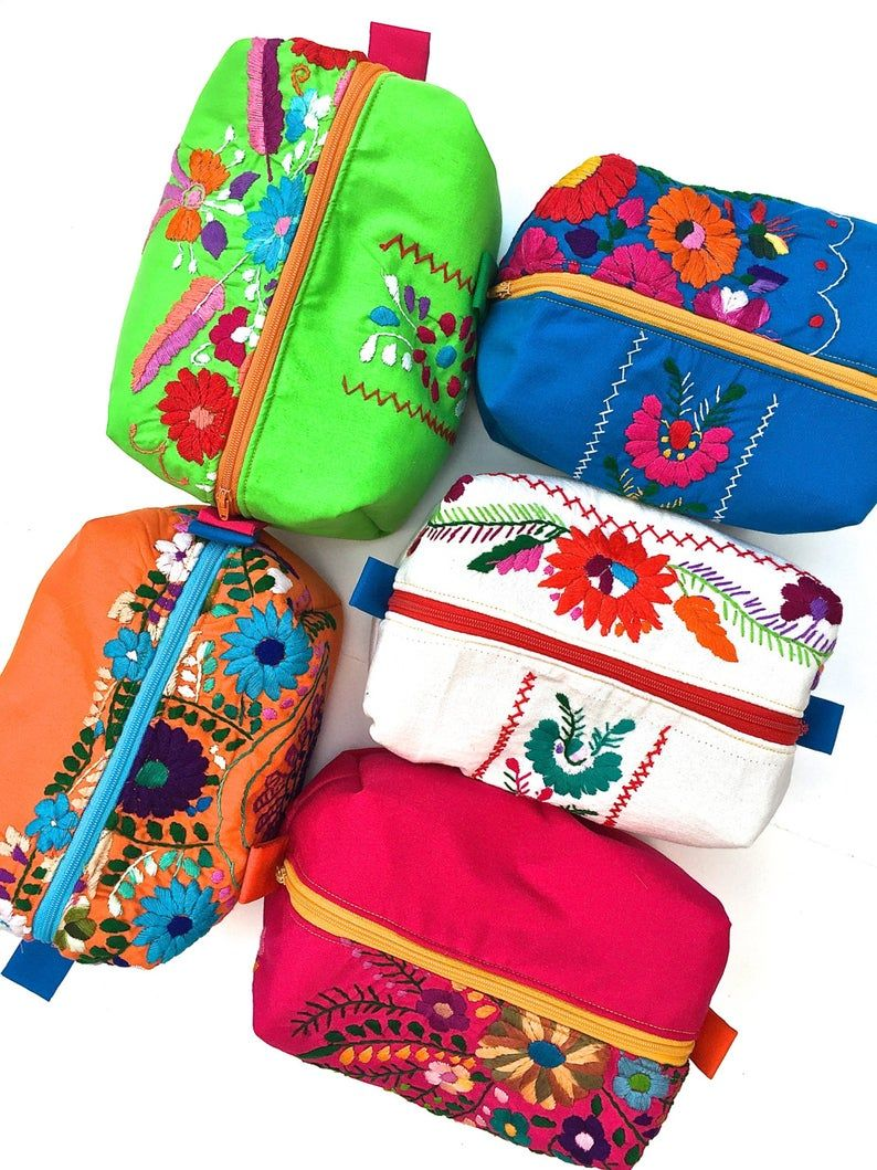 Mexican Dress Stand up Makeup Bag, Mexico Boxy Zip