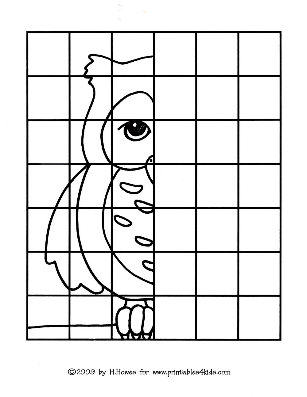 Worksheets Grid Art Worksheets owl complete the picture drawing printables for kids free word search puzzles coloring