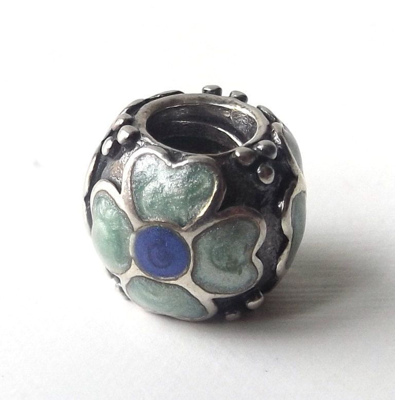 Sterling Silver Polished Red and Green Crystal Flower Bead Charm