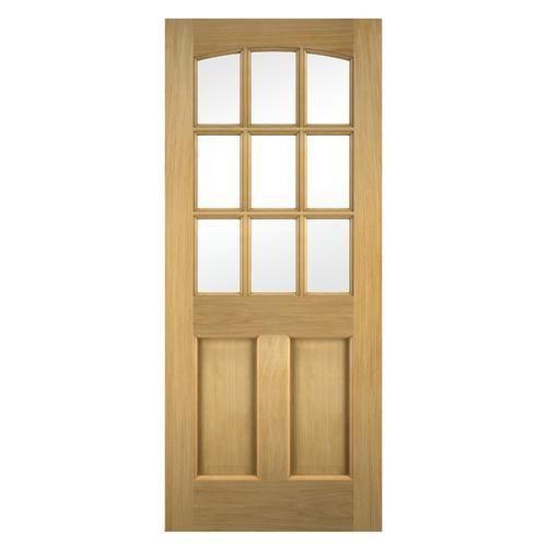 Wickes Georgia External Oak Veneer Door Glazed 2 Panel 1981 X 762mm