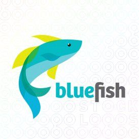 Exclusive Customizable Logo For Sale Blue Fish Stocklogos Com Fish Logo Logo Maker Logos