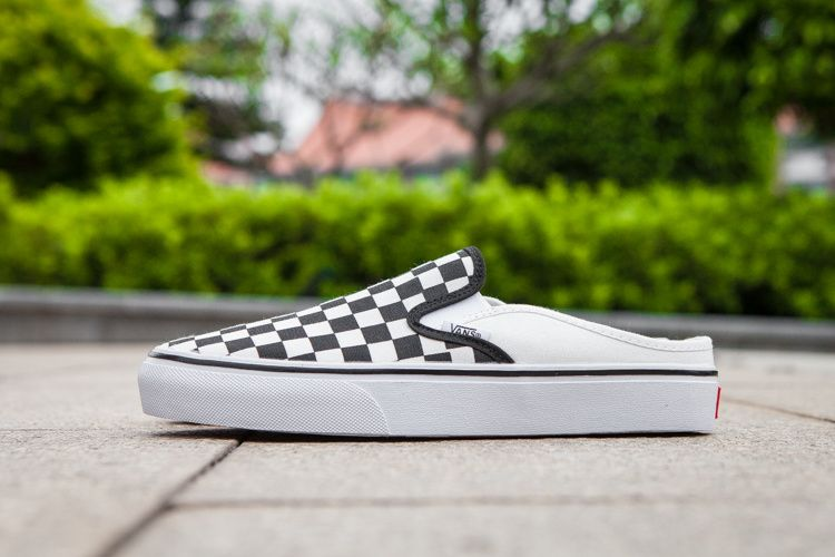 6b550f6b82 Vans CheckerBoard Mule Slip-On Classic Black White Womens Shoes ...