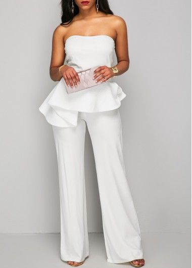 7522e4ed08b4f6 White Strapless Wide Leg Peplum Jumpsuit | Jumpsuits & Rompers ...