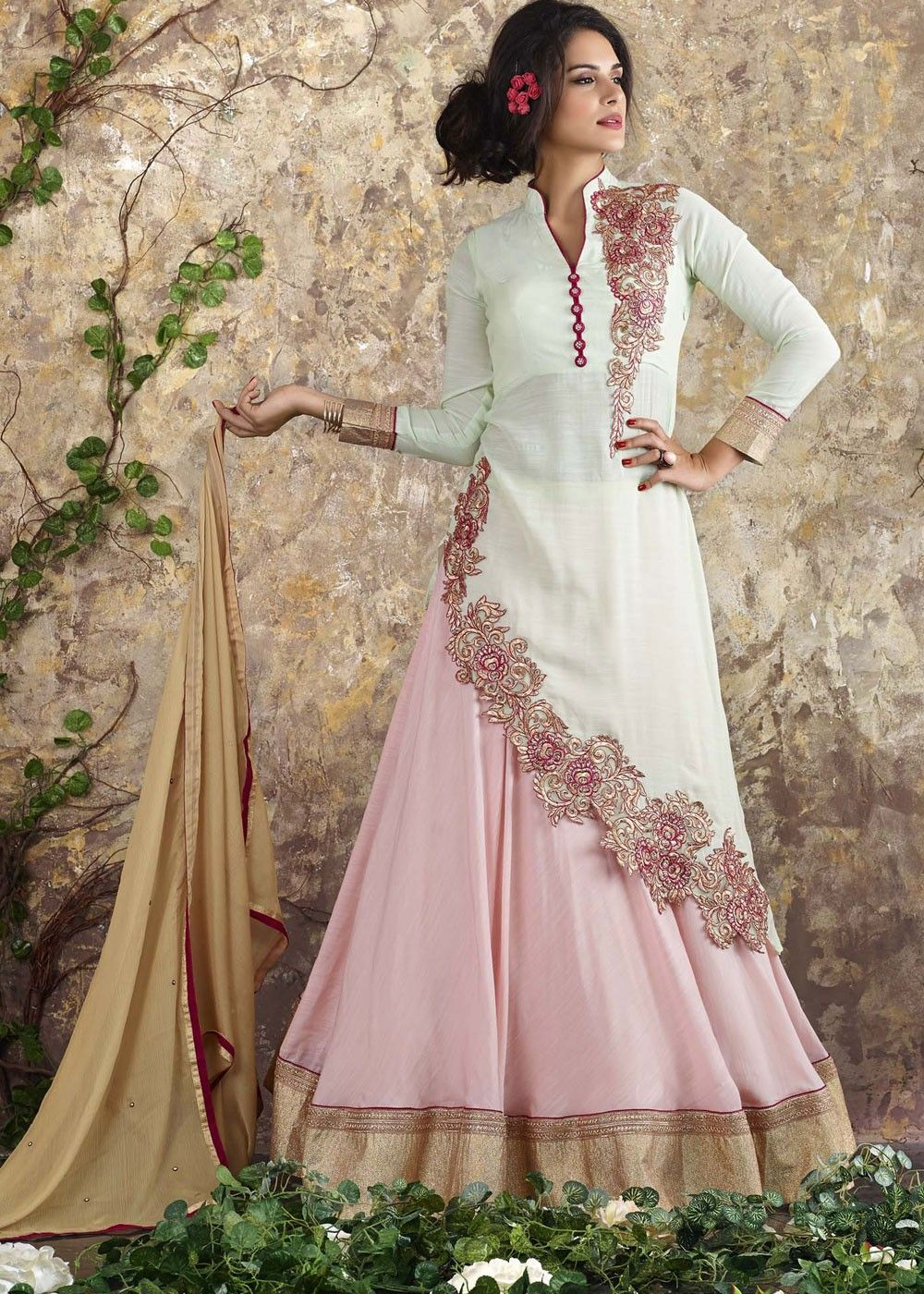 95ba544a19 Kurti Style Lehenga in White and Pink | outfits in 2019 | Kurta ...