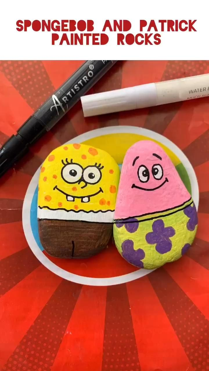 Photo of SpongeBob rock painting idea. Easy step-by-step tutorial for kids and adults