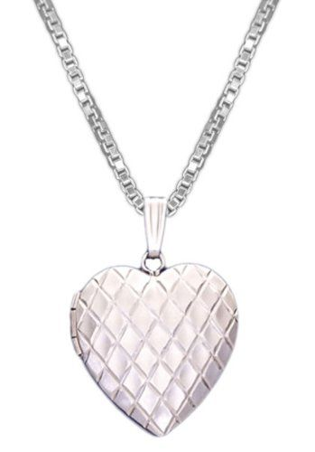 14k White Gold 2 Photo Heart Locket necklace - different chain lengths are available.  Love the contemporary look of this!