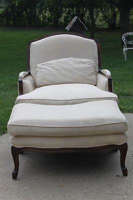 Genial French Bergere Chair With Ottoman