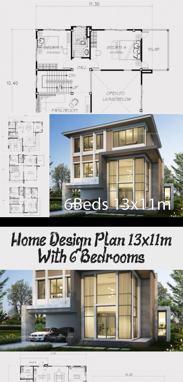 Home Design Plan 13x11m With 6 Bedrooms In 2020 Home Design Plan House Design House Designs Ireland
