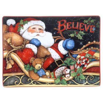 "Certified+International+The+Night+Before+Christmas+""Believe""+Rectangular+Platter"